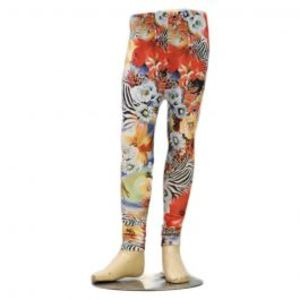 Girls Zebra Lining Print Skinny Tights