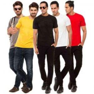 Mens Pack of 5 Plain T-Shirt Combo