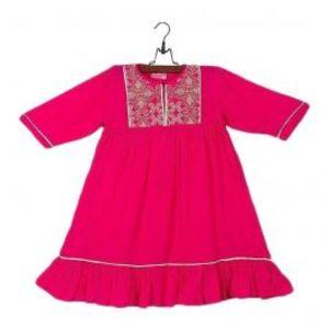 Pink Malai Linen Embroidered Kurta for Girls   GS 281