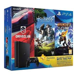 PS4 HITS Bundle PS4 500GB Horizon Zero Dawn Ratchet & Clank and Driveclub  3 Month PS Plus