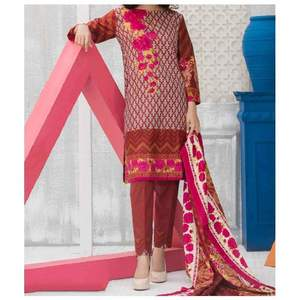 Maroon Printed 3pc Unstiched Suit