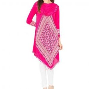 Pink Viscose Printed Tunic For Women