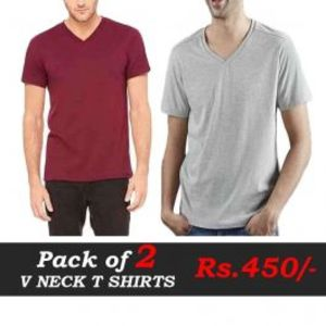 Pack Of Two V Neck T Shirts Deal 6