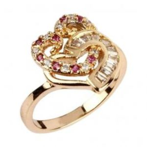 Fashion Café White Zircon 24K Gold Plated Dual Heart Shaped Ring