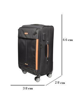 Toro Spinner 4 Wheels Soft Trolley Suitcase - Black 66 Cm