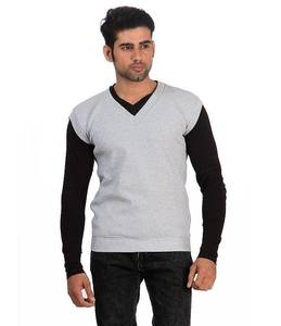 Mens Grey V-Neck Fleece Sweater. ACT-SW18