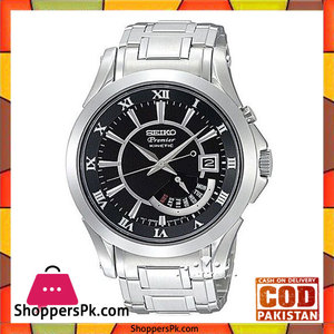 Seiko Mens Black Stainless Steel Watch (Model No. SRN003P1)
