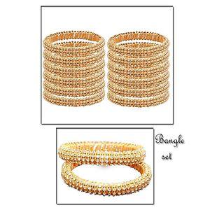Pack of 12  Golden Thread Zircon Studded Bangles