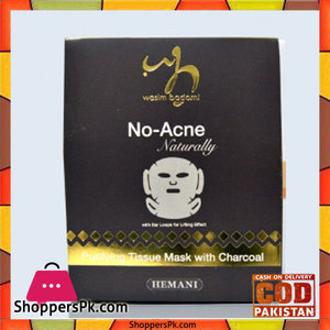 Wasim Badami No Acne Naturally Purifying Tissue Mask With Charcoal