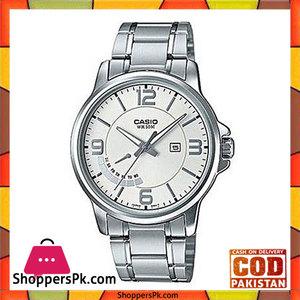Casio Silver Alloy Watch For Men  MTP-E124D-7AVDF