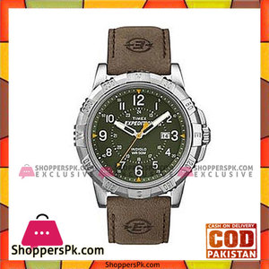 Timex Green Leather Expedition Rugged Field Analog Watch For Unisex