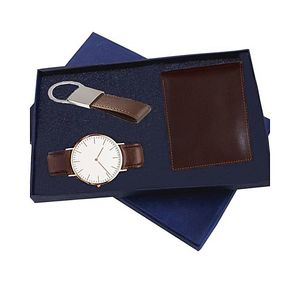 Deal Souk Brown Cow Leather Wallet, Watch and Keychain Gift Set