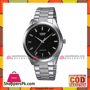 Casio Silver Quartz Steel Black Dial Watch For Men