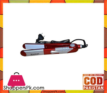Kemei  Hair Straightener  Red & Silver