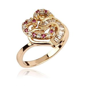 White Zircon 24K Gold Plated Dual Heart Shaped Ring