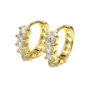 18K Gold Plated Half Earring Studded With Zircons