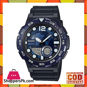 Casio AEQ-100W-2AVDF  Rubber General Analog Watch For Men  Blue