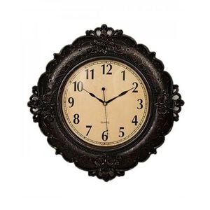 Floral Embossed Antique Wall Clock  17x17  Black
