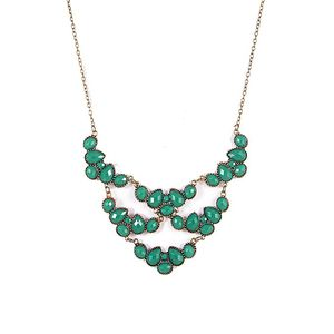 Emerald Green Metal Statement Necklace for Women  N28