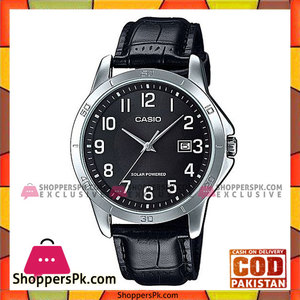 Casio Black Leather Analog Quartz Black Dial Watch For Men