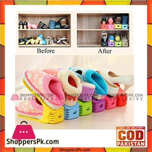 6pcs Display Rack Shoes Organizer Space-Saving Plastic Storage Rack Multi-color