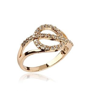 Zircon Embellished 24-K Gold Plated Geometric Ring