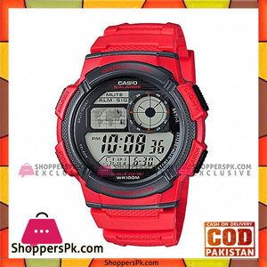 Casio Red Resin Band Watch for Men