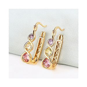 18K Gold Plated Earring Studded with Multi Color Zircons