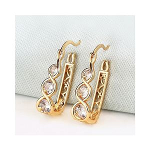 HB-122-18K Gold Plated Half Bali Earring Studded with Zircons