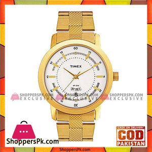 Timex Stainless Steel Analog Watch For Men  White & Gold