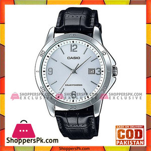 Casio Black Leather Analog Quartz White Dial Watch For Men