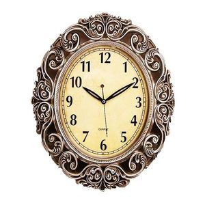 Antique Wall Clock With Silver Finishing  15×19  Brown