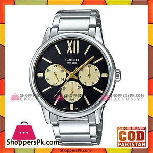 Casio Black Steel Dial Steel Band Watch For Men