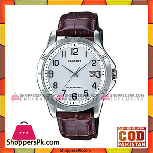 Casio Brown Leather Quartz White Dial Watch For Men