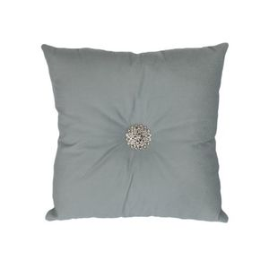 Cambridge Blue Suede Border Embellished Diamante Cushion 16×16 Inch With Filling
