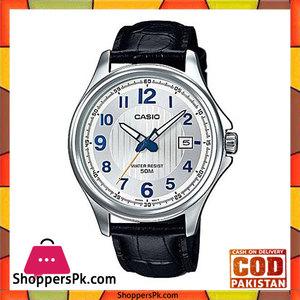 Casio Black Leather Analog Quartz Silver Dial Watch For Men  MTP-E126L-7AVDF