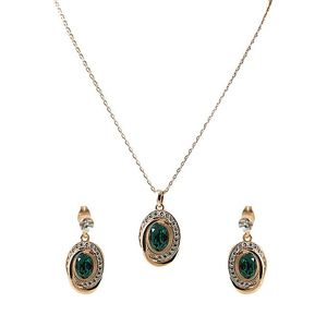 18K Gold Platted Emerald Green Stone Necklace & Earrings  Gp47