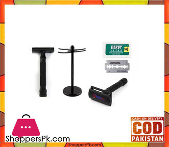 Obexa Perfecto Double Edge Safety Razor Stand With 10 Derby Blades  Black