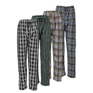 TJ FASHION Pack Of 4  Multicolour Cotton Checkered Pajamas For Men