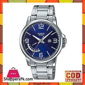 Casio Silver Alloy Watch For Men  MTP-E124D-2AVDF