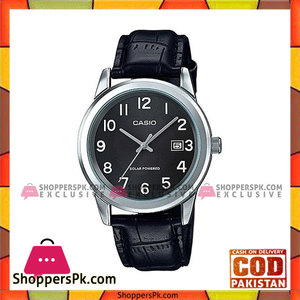 Casio Black Leather Strap Watch For Men
