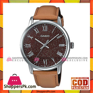 Casio Brown Leather Watch For Men