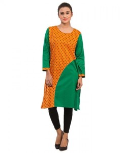 Stitched Printed Cotton Kurta  - Dark Green