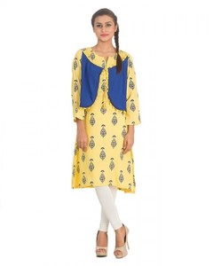 Stitched Printed Malai Kurta With Waist Coat - Yellow