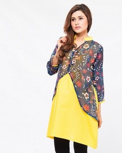 Stitched Cotton Kurta With Pearl Buttons - Yellow