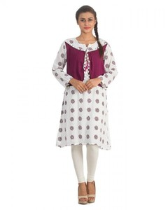 Stitched Printed Malai Kurta With Waist Coat - White