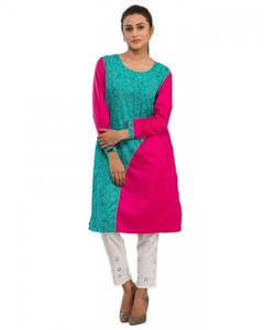 Stitched Printed Cotton Kurta  - Pink