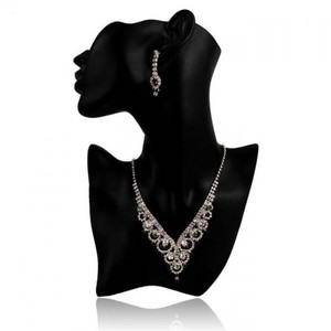 Rhinestone V Shaped Necklace With Earrings - Green And White