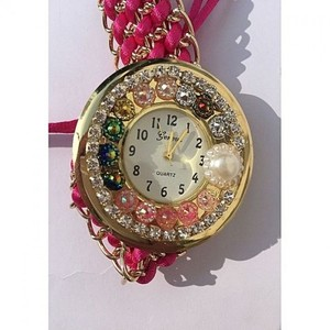 Pink Thread Strap Watch For Women - Multicolor