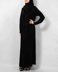 Front Close Jersey Abaya With Stone Work - Black